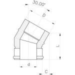 Komínové koleno 30°, izolace 30 mm