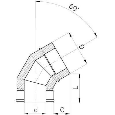 Komínové koleno 60°, DN 130 mm, izolace 30 mm