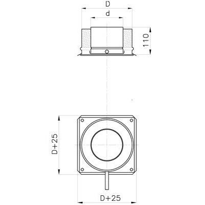 Komínová kotvící deska s kond. jímkou 130 mm, izolace 30 mm