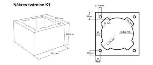 Nákres tvárnice K1