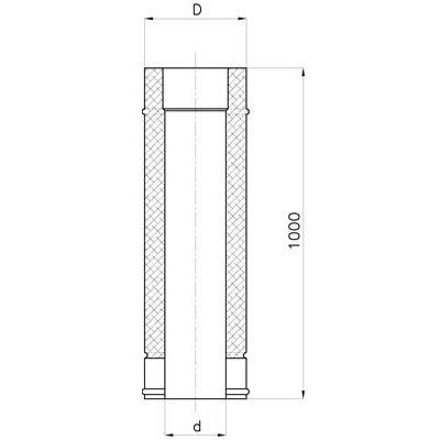 Komínová nerezová roura, délka 1 m, izolace 30 mm