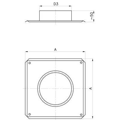 Komínový střešní přechod DN 130 mm, pro systém s izolací 30 mm
