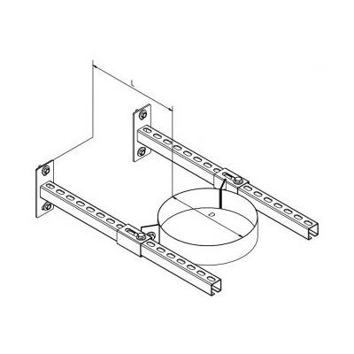 Nerezová stěnová objímka pro komín s izolací 30 mm, nástavná 0-400 mm