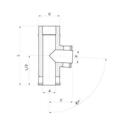 Nerezový izolovaný t-kus 87°, izolace 30