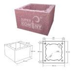 Nákres – Komínová tvárnice jednoprůduchová, 380 x 380 mm, výška 245 mm