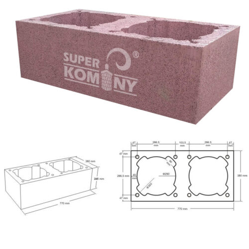 Nákres - Komínová tvárnice dvouprůduchová, 770 x 380 mm, výška 245 mm