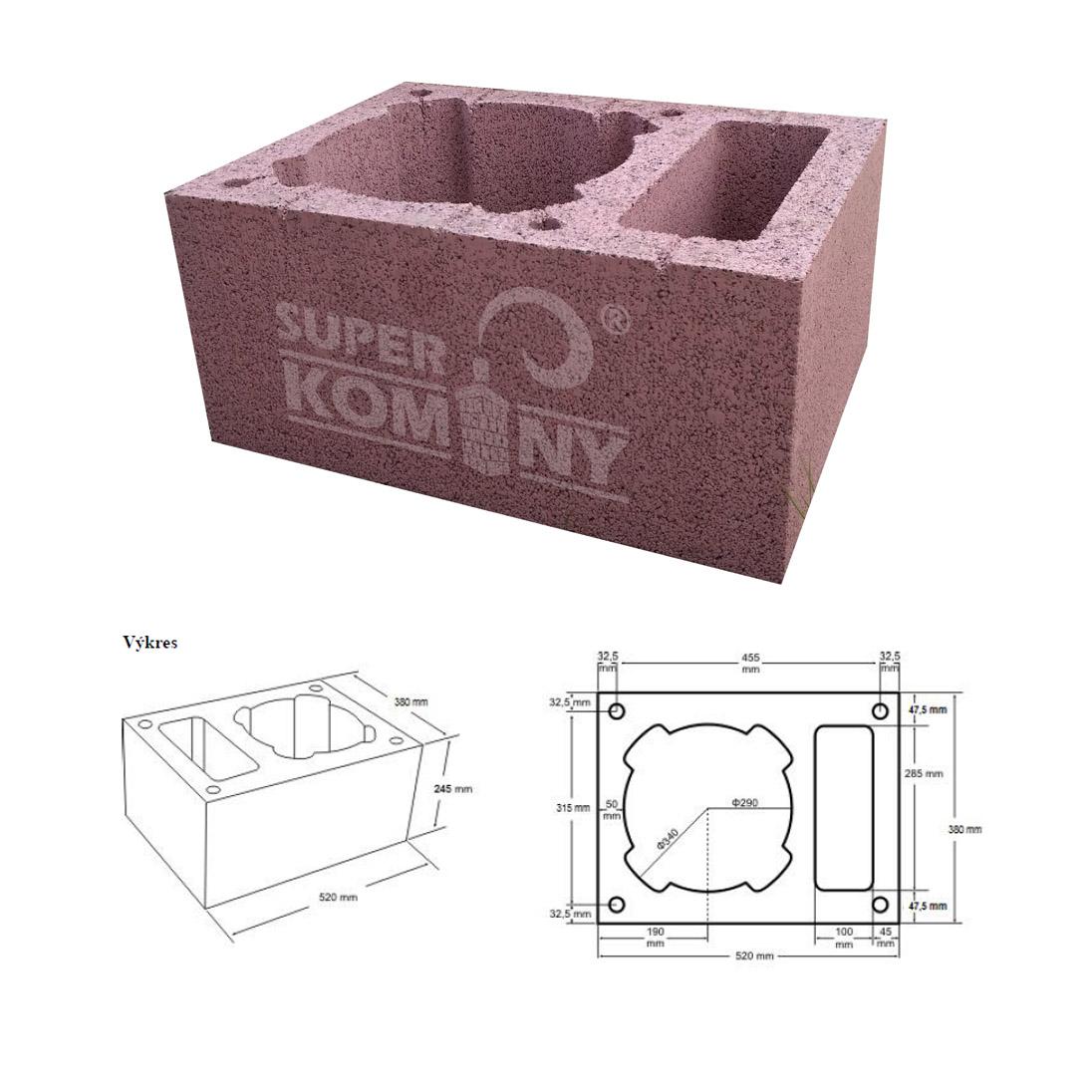 Nákres - Komínová tvárnice jednoprůduchová s větrací šachtou, 520 x 380 mm, výška 245 mm