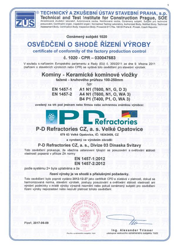 Certifikát PD