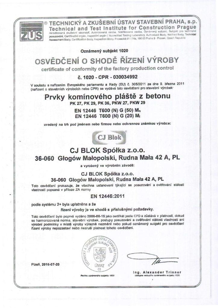 Certifikát tvárnice