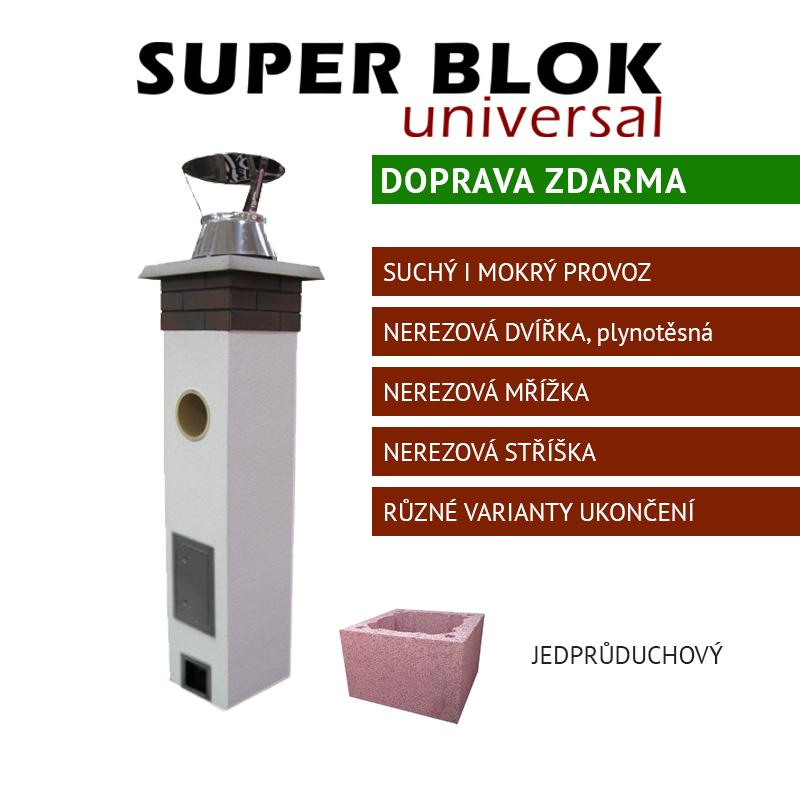 Jednoprůduchový komínový systém SUPER BLOK Universal