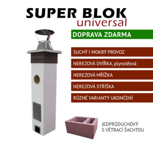 Jednoprůduchový komínový systém s větrací šachtou SUPER BLOK Universal