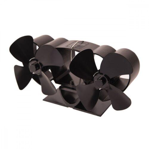 Ventilátor na kamna FLAMINGO dvouhlavý, černý