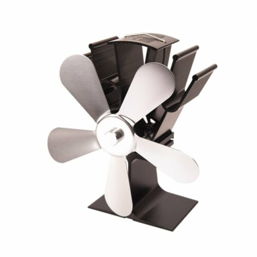 Ventilátor na kamna FLAMINGO pětilopatkový, stříbrný